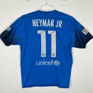 Nike Shirts - Nike Neymar Jr #11 FCB Barcelona Qatar Blue Soccer